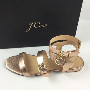 J. Crew NEW Metallic Gladiator Leather Sandals 9.5